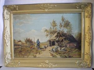 3019  Olieverfschilderij in Lijst  Herder met schapen