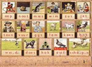 1132  Leesplankje compleet met letters ( Hoogenveen)